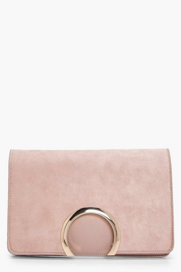 Taupe beige Metal Circle Suedette & PU Clutch Bag