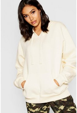 Ecru Basic Solid Oversized Hoody