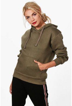 Khaki Basic Solid Oversized Hoody