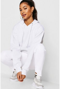 White Basic Solid Oversized Hoody