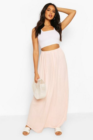 Blush Basic Gathered Waist Floor Sweeping Maxi Skirt