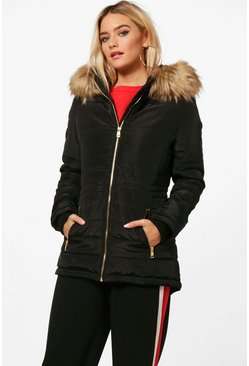 Black Quilted Jacket With Faux Fur Trim