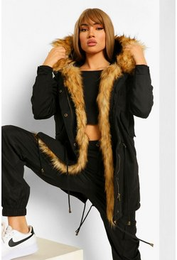 Black Boutique Faux Fur Trim Parka