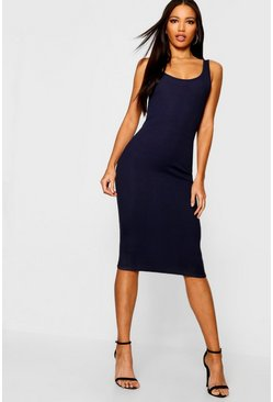 Navy Rib Sleeveless Midi Dress