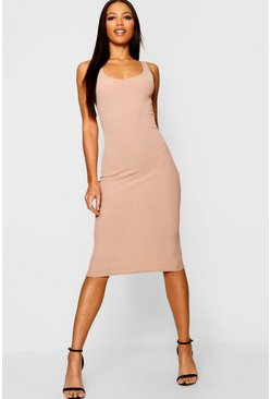 Sand beige Rib Sleeveless Midi Dress