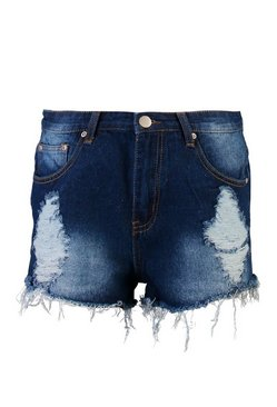 Denim-blue Stone Wash High Waist Ripped Denim Shorts