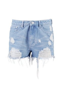 Blue High Rise Distressed Denim Mom Shorts