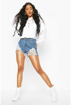 Dark blue blue High Waist Graduated Distress Denim Shorts