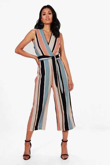 Multi Striped Tie Belt Culotte Jumpsuit