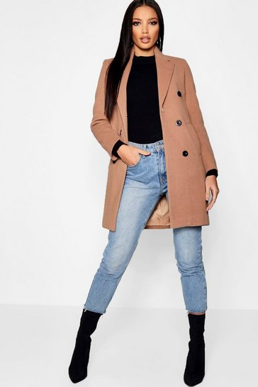 Camel beige Double Breasted Wool Look Coat