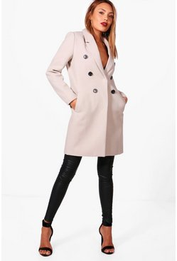 Stone beige Double Breasted Wool Look Coat