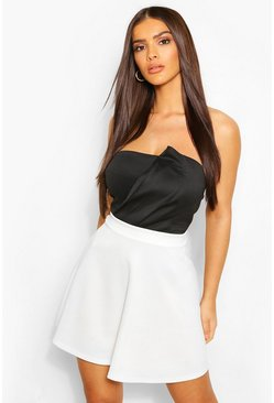 Ivory white Basic Fit And Flare Skater Skirt