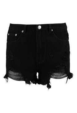 Black High Rise Distressed Denim Mom Shorts