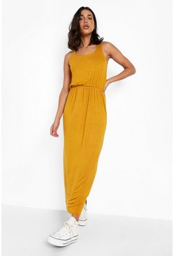 Mustard Racer Back Maxi Dress