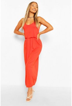 Orange Racer Back Maxi Dress