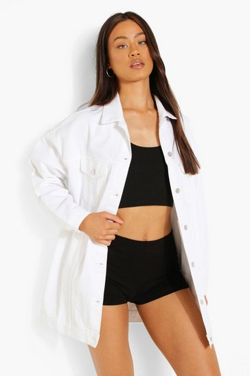 White Distressed Longline Denim Jacket