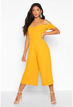 Mustard yellow Off The Shoulder Culotte Jumpsuit