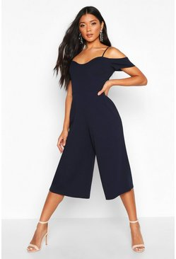 Navy Off The Shoulder Culotte Jumpsuit