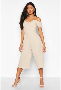 Stone beige Off The Shoulder Culotte Jumpsuit