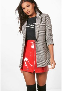 Black Check Wool Look Blazer Coat