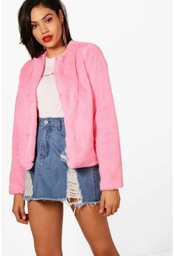 Pink rosa Crop Faux Fur Coat