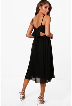 Black Chiffon Tie Back Midi Skater Bridesmaid Dress