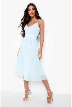 Chiffon Tie Back Midi Skater Bridesmaid Dress, Sky azzurro