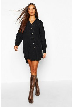 Black Distressed Baby Cord Shirt Dress