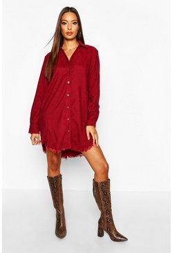Burgundy red Distressed Baby Cord Shirt Dress