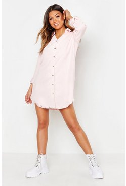 Powder pink pink Distressed Baby Cord Shirt Dress