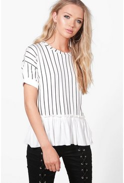 White Ria Ruffle Stripe T-Shirt