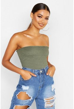 Khaki Shirred Bandeau