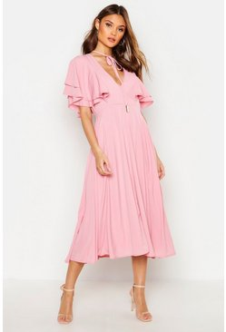 Antique rose pink Ruffle Angel Sleeve Bolo Tie Midi Dress