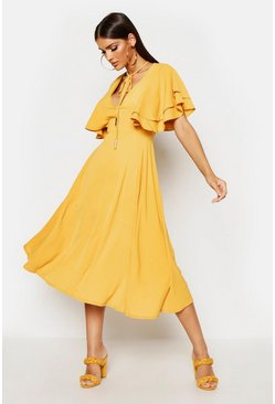 Mustard yellow Ruffle Angel Sleeve Bolo Tie Midi Dress