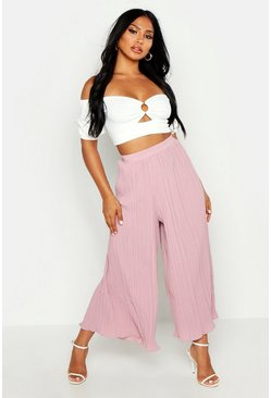 Rose pink High Waist Pleated Wide Leg Culottes