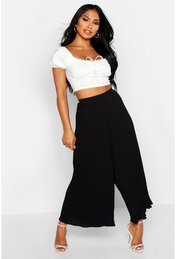Black High Waist Pleated Wide Leg Culottes