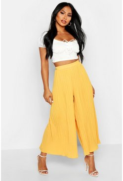 Mustard yellow High Waist Pleated Wide Leg Culottes
