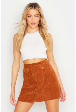 Tan brown Button Front Chunky Cord Mini Skirt