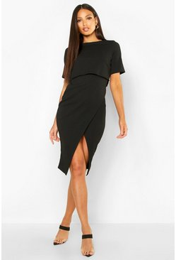 Black Layered Wrap Wiggle Midi Dress
