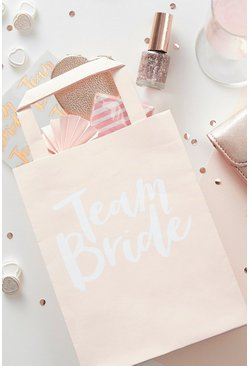 Naturel beige Ginger Ray Team Bride Vrijgezellenfeest Goodie Bag Tassen (5 Stuks)