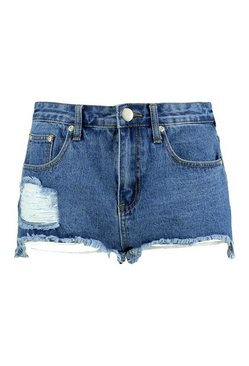 Mid blue Cut Out Hem Fray Denim Mom Shorts