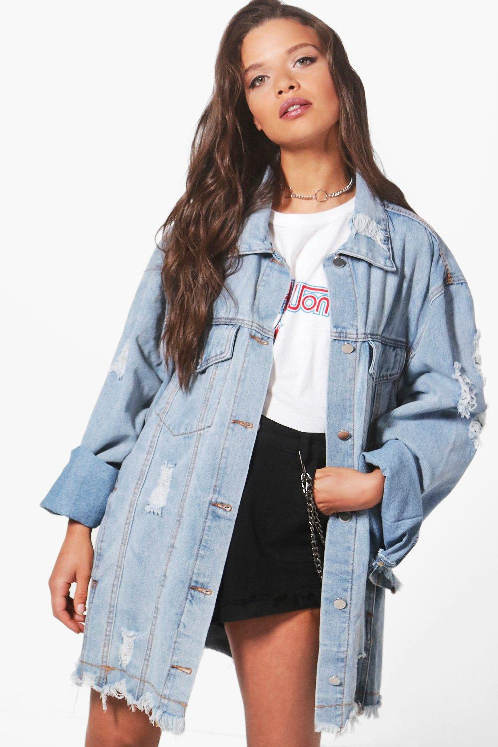 Zoe Oversize Extreme Cuff Distressed Denim Jacket | Boohoo UK