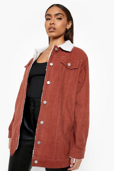 Rust orange Borg Long Line Cord Jacket