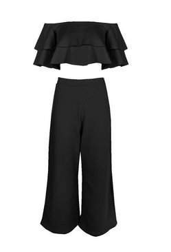 Black Double Bandeau Top & Culotte Co-Ord Set