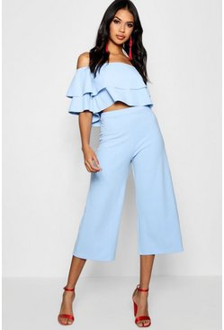 Blue Double Bandeau Top And Culotte Co-Ord Set