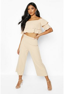 Stone beige Double Tube Top And Culotte Two-Piece Set