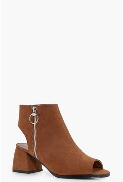 Tan brown Ring Detail Peeptoe Shoe Boots