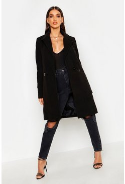 Black Zip Pocket Tailored Coat