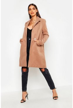 Camel beige Zip Pocket Tailored Coat