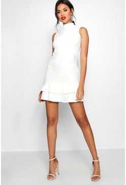 Ivory white Sleeveless Ruffle Hem Bodycon Dress